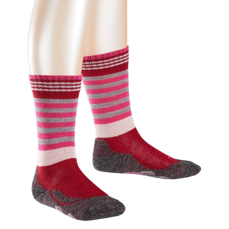 Falke Socken warm and dry rot grau rosa gestreift